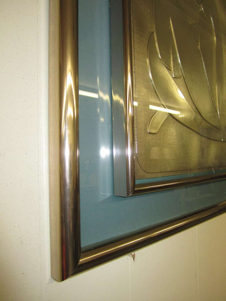 Mid-Century Modern Lovely Matisse Inspired Metallic Gold Embossed Wall Hanging For Sale