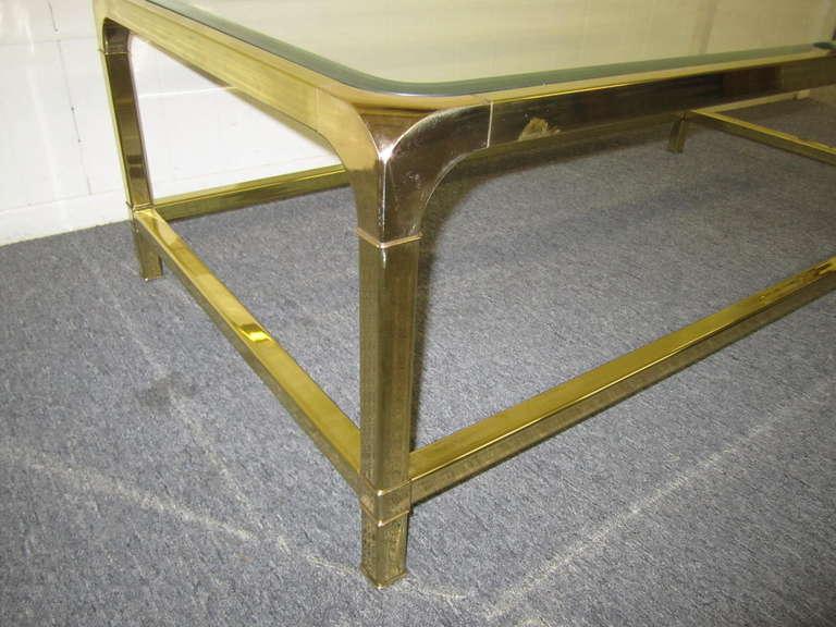 Brilliant Solid Brass Mastercraft Coffee Table Hollywood Regency Modern 3