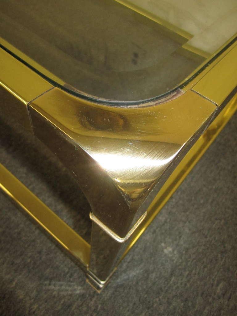 Brilliant Solid Brass Mastercraft Coffee Table Hollywood Regency Modern 9