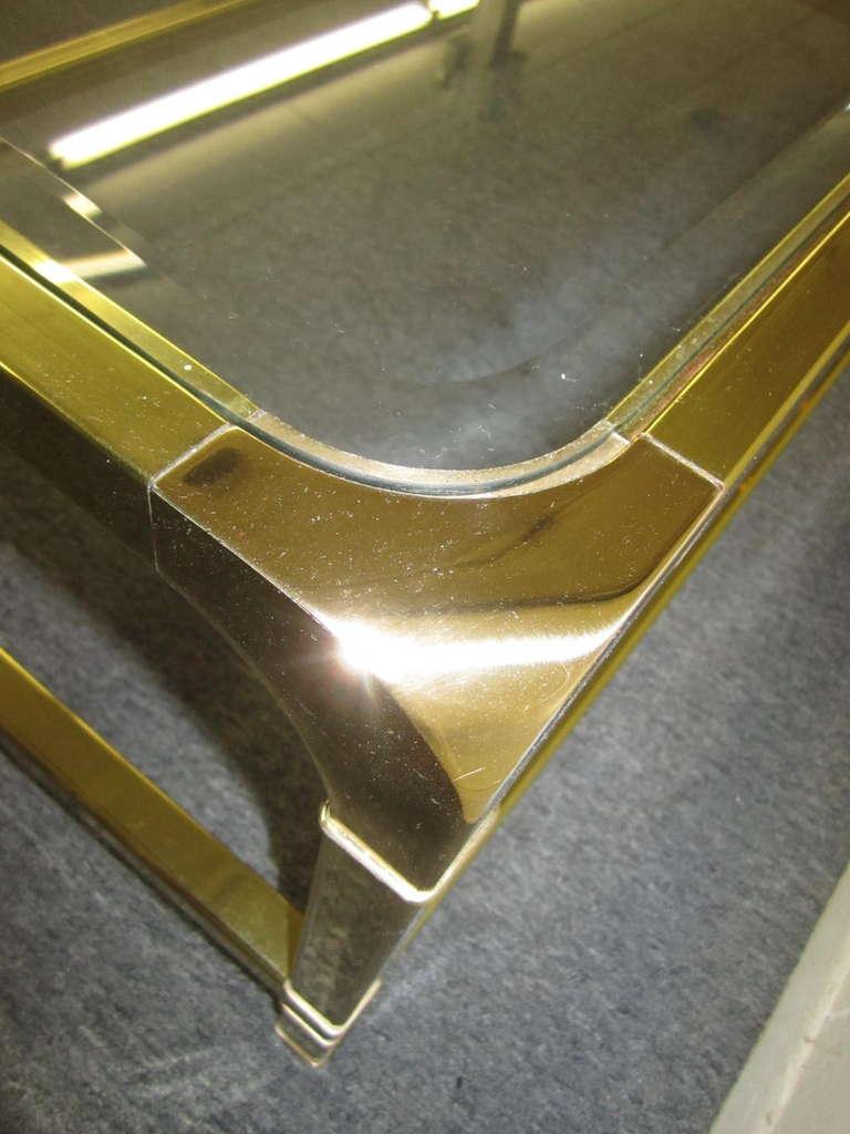 Brilliant Solid Brass Mastercraft Coffee Table Hollywood Regency Modern 4