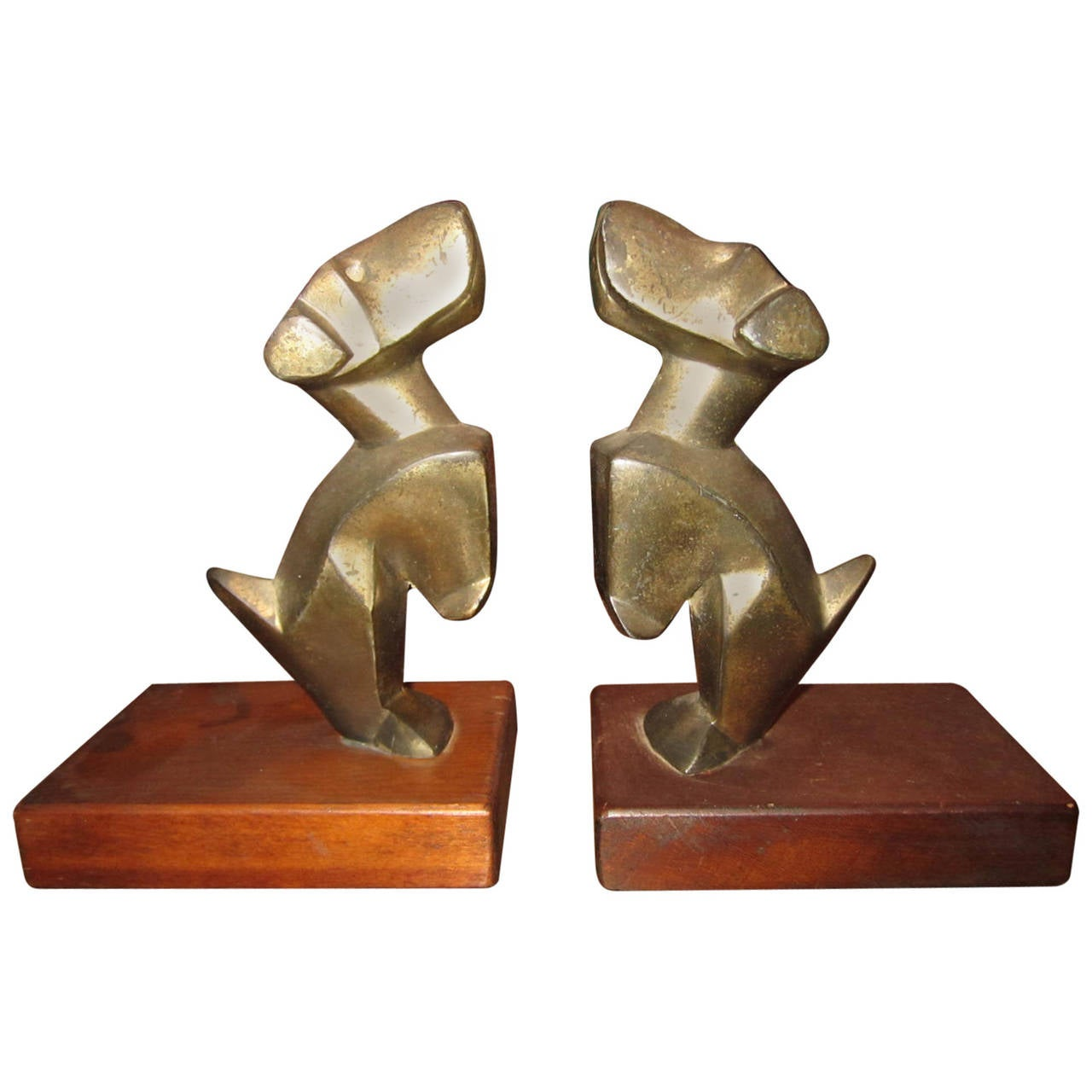 Excellent Pair of E. Nikolsky Bronze Terrior Bookends Mid-Century Modern