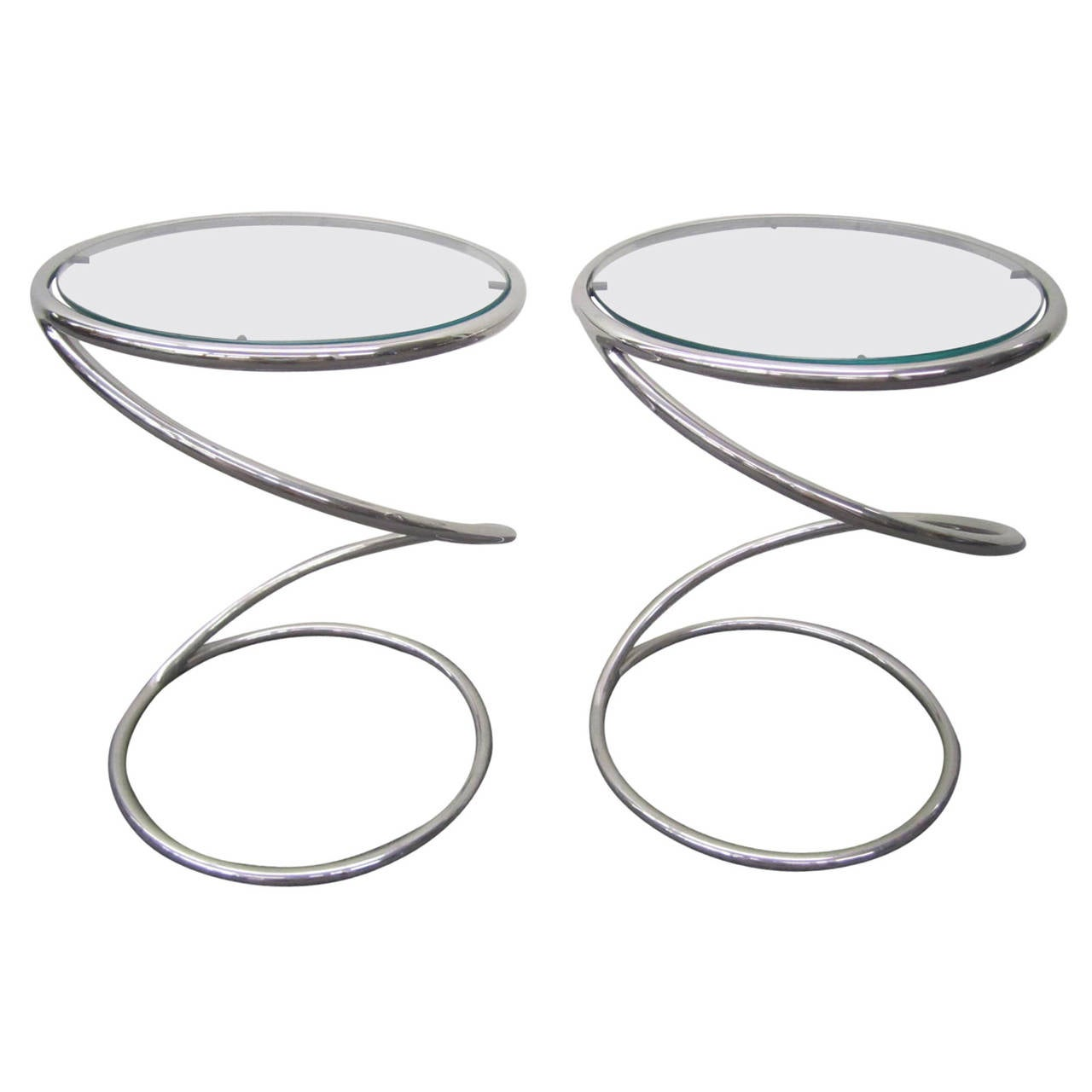Stunning Pair of Chrome Pace Collection Spring Side Tables, Mid-Century Modern