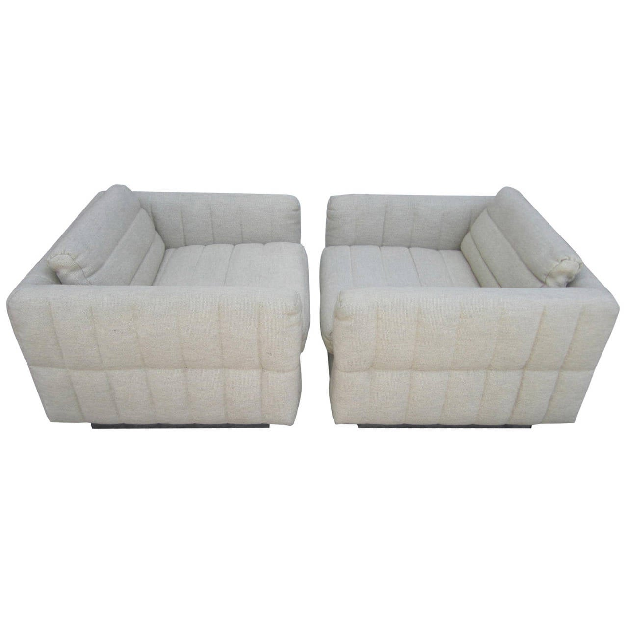 lovely pair of channel tufted milo baughman cube chairs chrome base mid century 1 channel tufted furniture