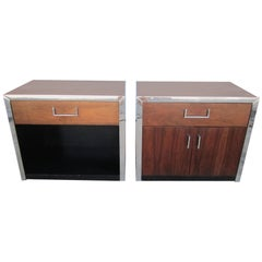 Two Milo Baughman Style Rosewood Chrome and Black Lacquer Night Stands