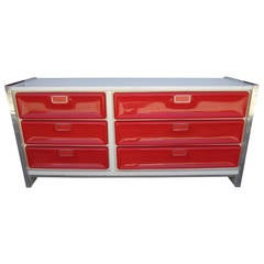 Fantastic Pop Modern Red Plastic Front Credenza, Mid-Century