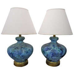 Lovely Pair of Turquoise Lava Glazed Lamps Mid-century Modern