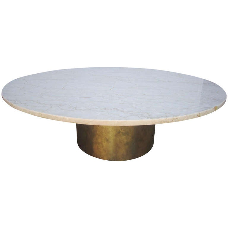 Silas Seandel Style Solid Brass And Marble Coffee Table Mid Century Modern At 1stdibs