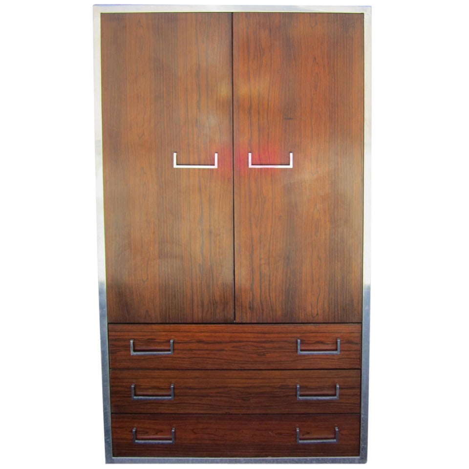 Handsome Milo Baughman Style Rosewood And Chrome Tall Dresser Mid Century Modern For At 1stdibs