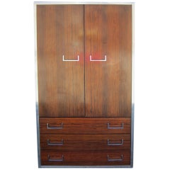 Handsome Milo Baughman Style Rosewood and Chrome Tall Dresser Mid-century Modern