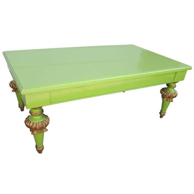 Outrageous Hollywood Regency Lacquered Lime Green and Gold Coffee Table For Sale