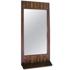 Stunning and Rare Harris Strong Tile Mirror with Shelf Mid-century Modern