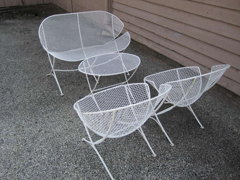 Maurizio Tempestini Mid Century Modern Patio Bench Chair Salterini For Sale  1