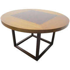 Mid-Century Modern Circular Rosewood and Walnut Side, End Table in Baker Style