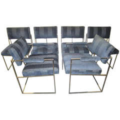 Outstanding Set of Six Milo Baughman Chrome Dining Chairs, Mid-Century Modern