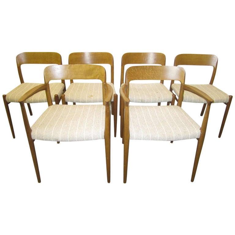 Wonderful Set of Six J. L. Moller Teak Dining Chairs Danish Mid-Century Modern