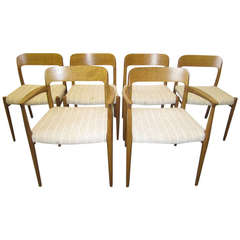 Wonderful Set of Six J. L. Moller Teak Dining Chairs Danish Mid-Century Modern
