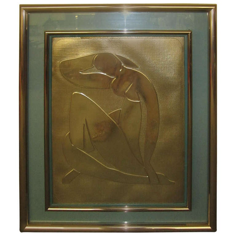 Lovely Matisse Inspired Metallic Gold Embossed Wall Hanging For Sale
