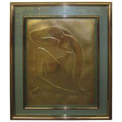 Lovely Matisse Inspired Metallic Gold Embossed Wall Hanging