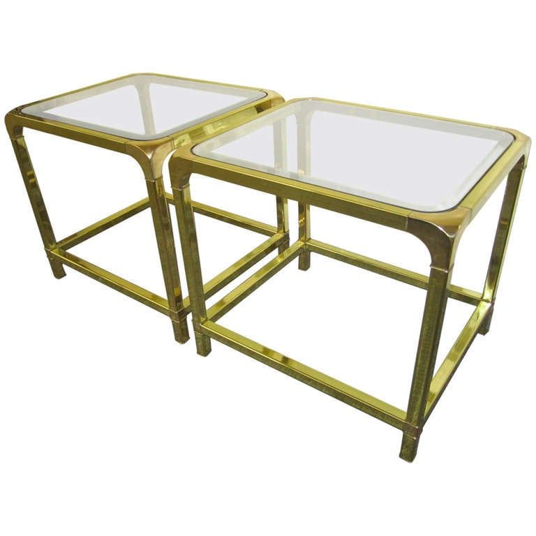Fabulous Pair of circa 1970 Mastercraft Brass and Glass Tables Hollywood Regency