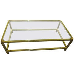 Brilliant Solid Brass Mastercraft Coffee Table Hollywood Regency Modern