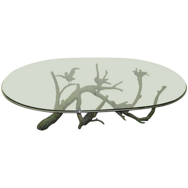 Large And Heavy Bronze Tree Birds Coffee Table In The Manner Of Giacometti For Sale At 1stdibs