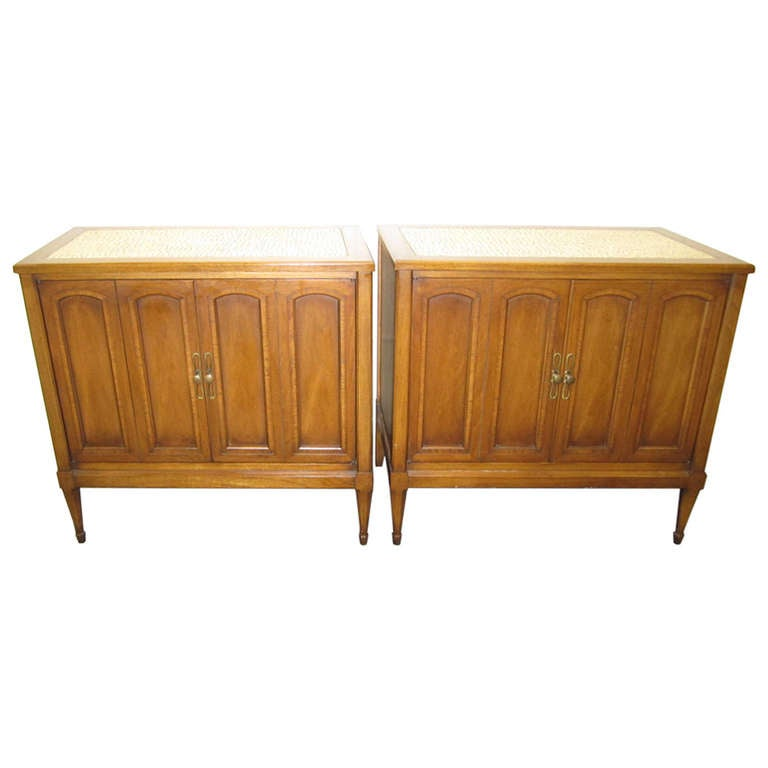 Stunning pair of mosaic top mid century modern nightstands for Modern nightstands for sale