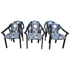 Fun Set of Six Panton Inspired Italian Black Lacquered Dining Chairs Mid-Century