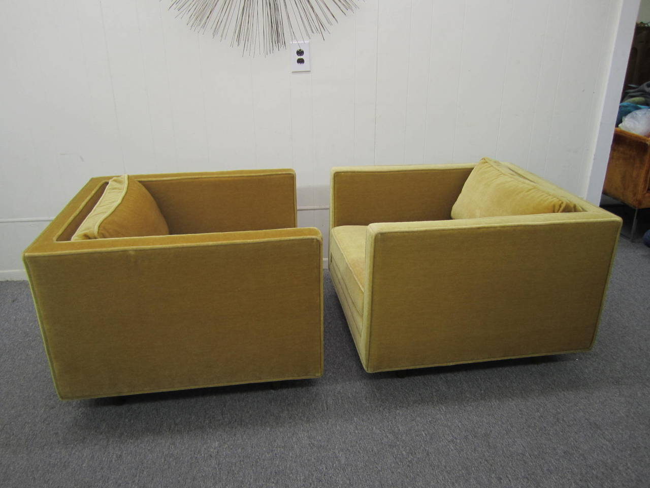Amazing Handsome Pair Of Signed Harvey Probber Mohair Cube Chairs Machost Co Dining Chair Design Ideas Machostcouk