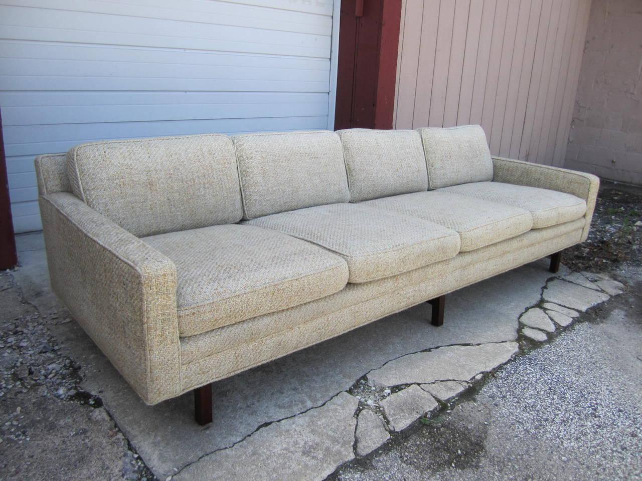 Fabulous Milo Baughman Four Seat Sofa With Walnut Legs