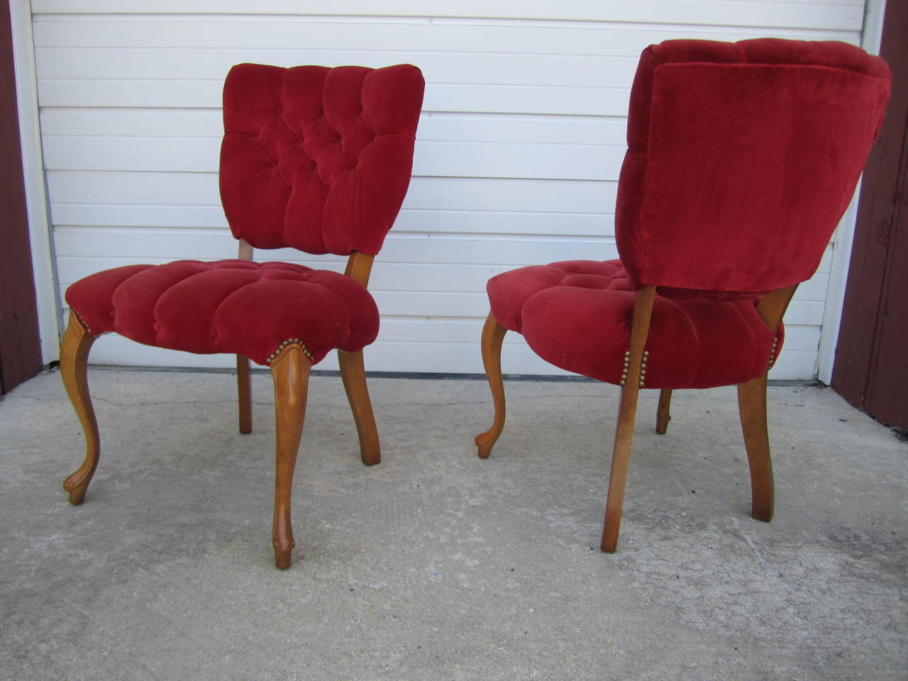 Lovely Pair Of Queen Anne Style Red Velvet Tufted Side Chairs. These Chairs  Are Circa