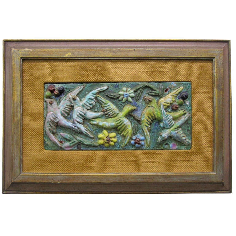 Charming Harris Strong Style 3-D Tile bird Painting For Sale