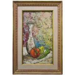 Mid-century Modern Still Life Tomato with Vase Impasto Oil Painting