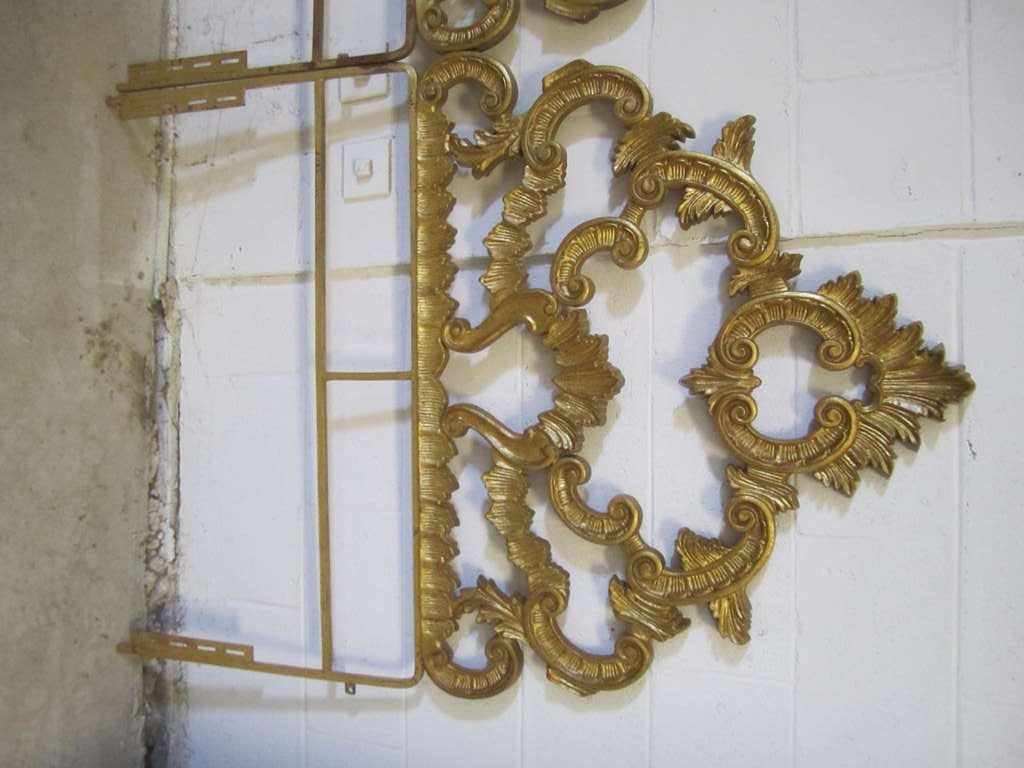 Amazing Pair Of Gilded Gold Cast Iron Headboards Can Be Used Together For A Kingsize