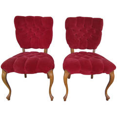 Pretty Pair of Queen Anne Style Red Tufted Side Chairs Hollywood Regency