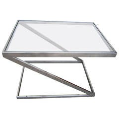 Terrific Milo Baughman Chrome Z End Side Table, Mid-Century Modern