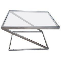 Terrific Milo Baughman Attributed Chrome Z End Side Table, Mid-Century Modern