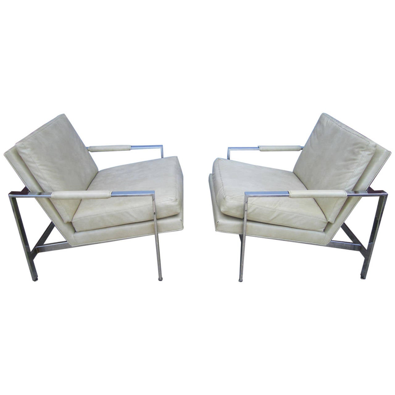 Amazing Lovely Pair Of Milo Baughman Chrome Cube Chairs Mid Century Modern Machost Co Dining Chair Design Ideas Machostcouk
