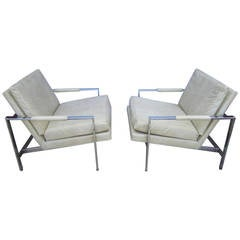 Lovely Pair of Milo Baughman Chrome Cube Chairs, Mid-Century Modern