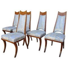 6 American Mid-century Modern Burled Wood Dining Chairs Klismos Style