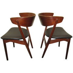 Excellent Pair of Danish Modern Bentwood Teak Dining Chairs