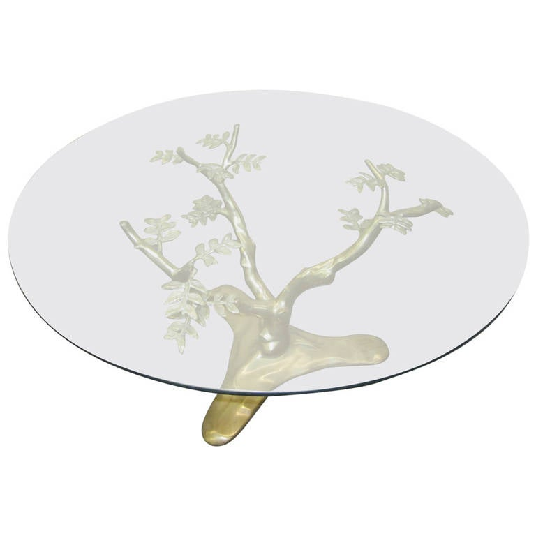 Stunning Brass Tree Sculpture Coffee Table in the Style of Willy Daro