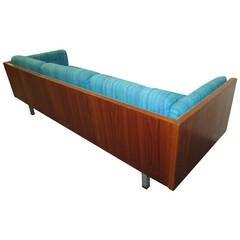 Gorgeous Milo Baughman Style Teak Case Sofa, Mid-Century Danish Modern