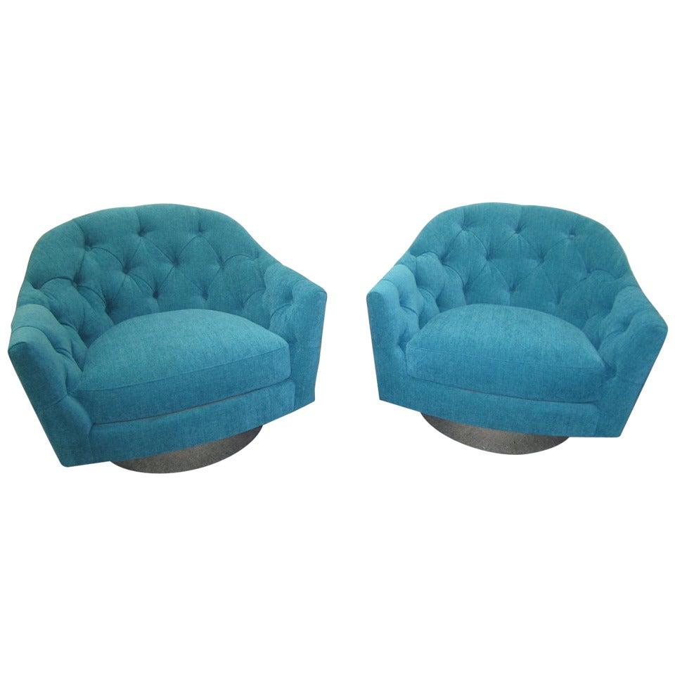 Pair of Restored Chrome-Base Swivel Chairs, Mid-Century Modern
