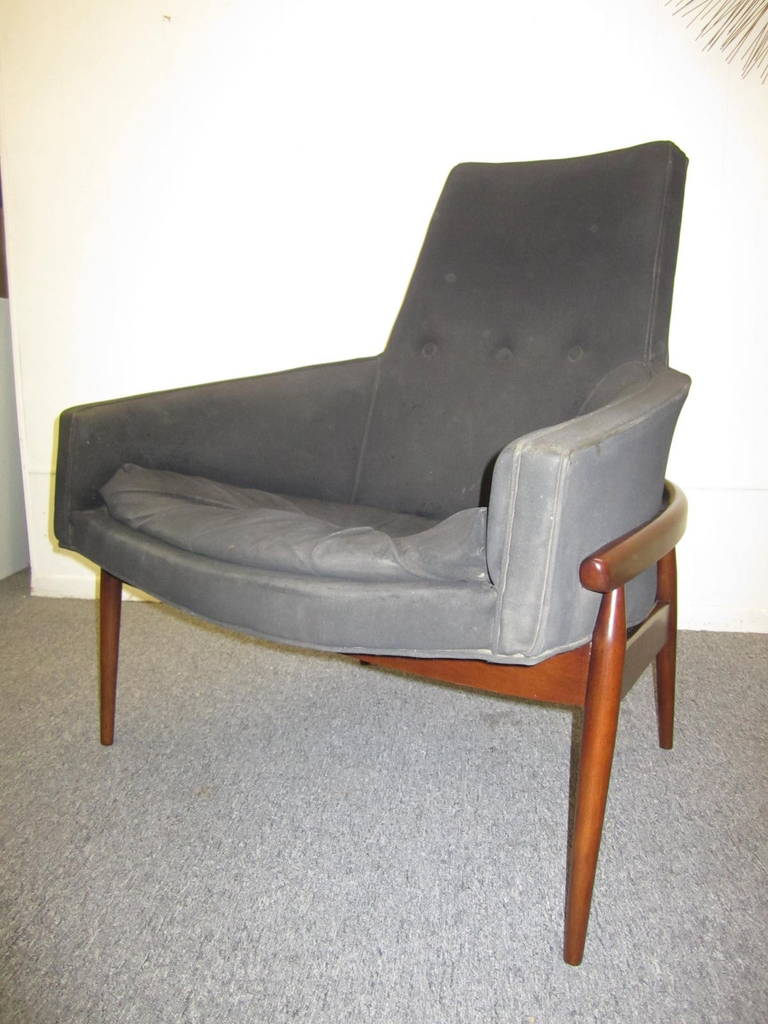 Gorgeous And Rare Tall Back Barrel Back Milo Baughman Walnut Lounge Chair.  You Will Love