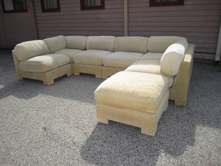 Gorgeous Milo Baughman Style Seven Piece Sectional Sofa. Fabulous Sectional  Sofa That Can Be