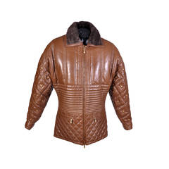New VERSACE CARAMEL BROWN QUILTED STUDDED LEATHER FUR JACKET
