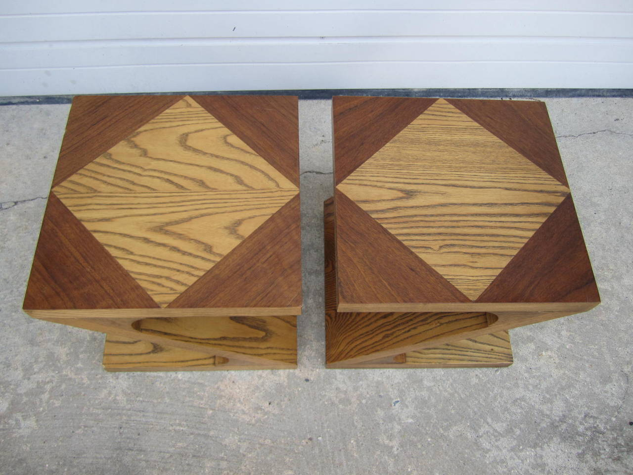 Excellent pair of signed Lane Z end tables. These rare small tables still retain their original hang tags. They are in excellent vintage condition with only some very light wear.