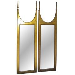Pair Of Gilded Gold Designer Mirrors Regency Hollywood Modern
