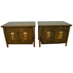 Fantastic Pair Of Burled Mastercraft Night Stand Mid-century Modern
