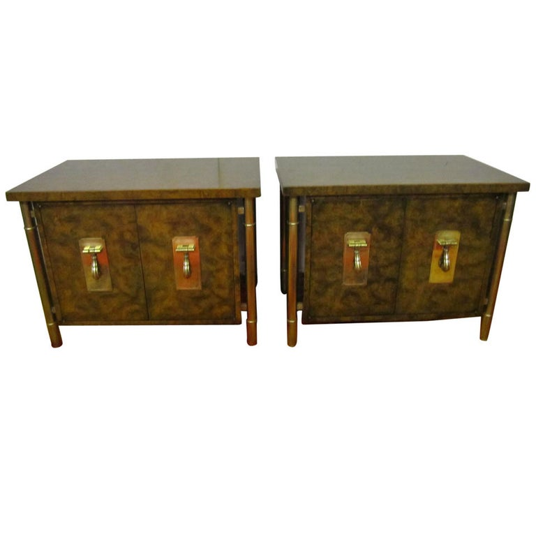 Fantastic Pair Of Burled Mastercraft Night Stand Mid-century Modern For Sale
